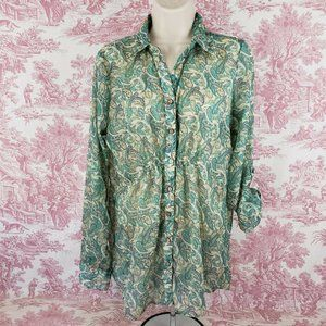 Maurices Sheer Blouse M Paisley Print Cinch Front